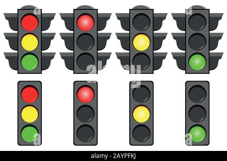Traffic light interface icons set isolated on white background. - Stock Photo