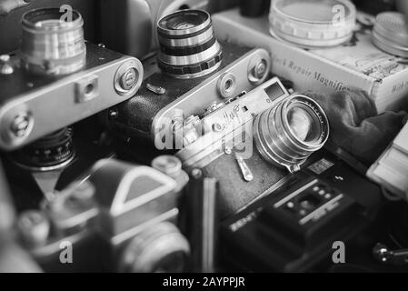 Yerevan, Armenia October 13, 2019: Vintage soviet and foreign cameras and lenses on the market Stock Photo
