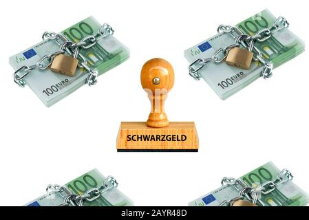 stamp lettering Schwarzgeld, black money, 100 Euro bills with chain locks in the background, Germany - Stock Photo