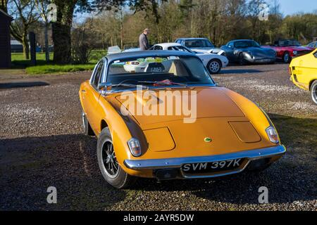 Lotus Elan +2s 130, 1971, Reg No: SVM 397K, at The Great Western Classic Car Show, Shepton Mallet UK, Febuary 08, 2020 - Stock Photo