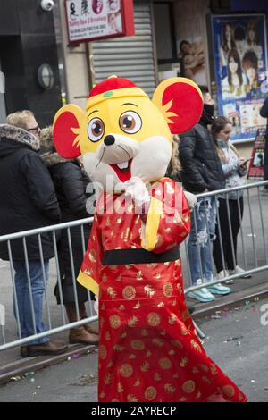 The Chinese New Year Parade welcomed in the Year of the Rat in 2020 down East Broadway and up Eldridge Street in Chinatown in New York City. - Stock Photo