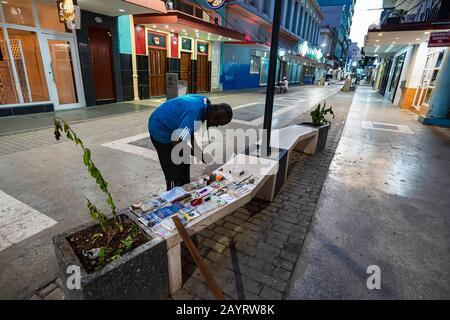 November 27, 2019, Havana, Cuba: Street vendor selling in the streets of Havana - Stock Photo