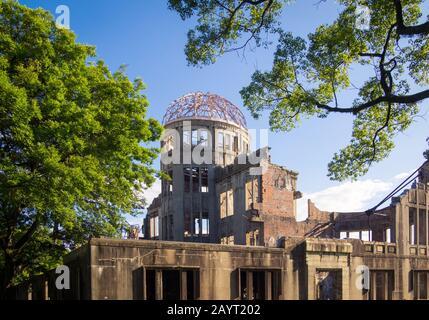 The Hiroshima Peace Memorial (Genbaku Dome, Atomic Bomb Dome or A-Bomb Dome) in Hiroshima, Japan. - Stock Photo