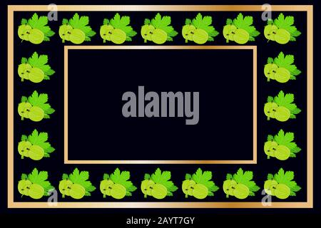 Gold frame gooseberry tea, wine or alcohol label package. Fruit tag for food products, juice, jam, ice cream, smoothies, yogurt,soap, cosmetics.Vector - Stock Photo