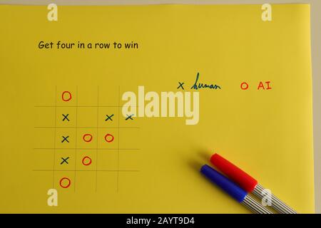 Yellow paper with 5x5 tic tac toe game competition, human vs AI, who will win, artificial intelligence concept - Stock Photo
