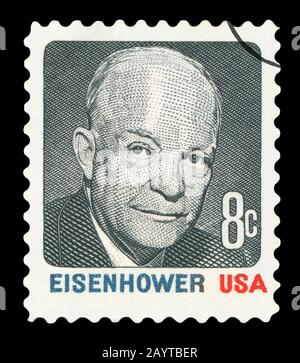 UNITED STATES OF AMERICA - CIRCA 1972: A stamp printed in USA shows image of former US President Dwight Eisenhower, series, circa 1972 - Stock Photo