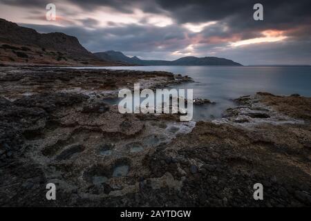 Coastal landscape near Goudouras village in southern Crete. - Stock Photo