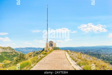 Mausoleum of Peter Njegos in mountains of Lovcen, Montenegro - Stock Photo
