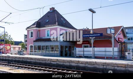 Municipal Germering, District Fürstenfeldbruck, Upper Bavaria, Germany: Building of Train Station Germering-Unterpfaffenhofen
