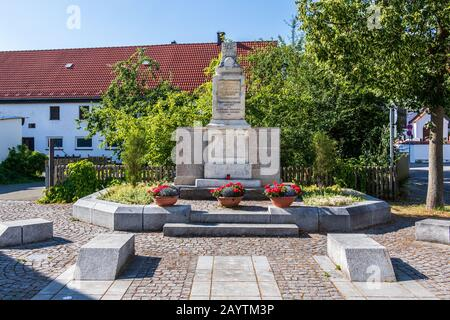 Municipal Germering, District Fürstenfeldbruck, Upper Bavaria, Germany: Panorama of Ehrendenkmal Monument