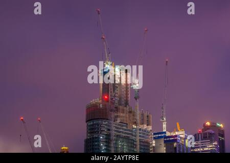 Sydney, Australia - November 22, 2014: Construction site of Barangaroo towers in Darling Harbour, Sydney - Stock Photo