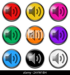 An Audio sign button icon set isolated on white with clipping path - Stock Photo