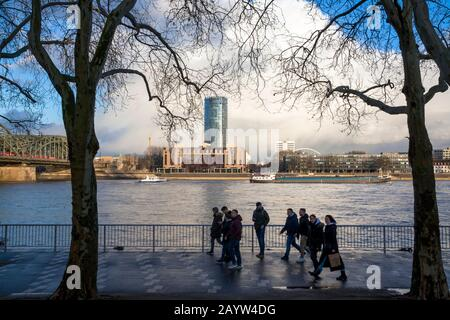 view over the Rhine to the Hotel Hyatt Regency and the CologneTriangle tower in the district Deutz, Cologne, Germany.  Blick ueber den Rhein zum Hotel - Stock Photo