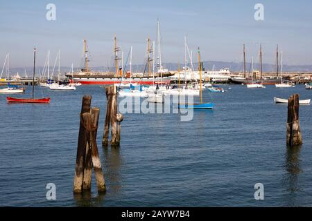Hyde Street pier historic ships and small boats, San Francisco, California, USA - Stock Photo
