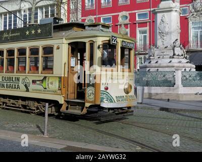 Old-fashioned trams run also in Porto - Stock Photo
