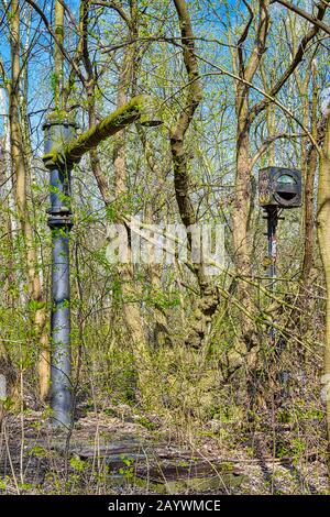 Berlin, Germany - April 12, 2018: Historic infrastructure on the site of a former freight yard in Berlin, Germany. - Stock Photo