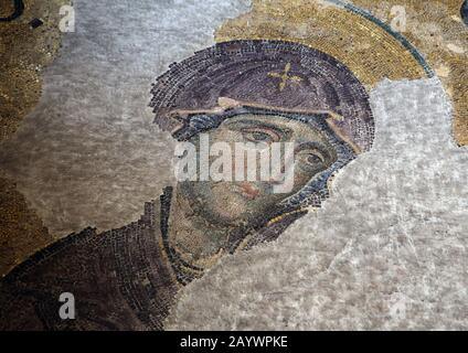 Turkey. Istanbul. Hagia Sofia. Deesis mosaic. Detail of Virgin Mary. 12th or 13th century. - Stock Photo