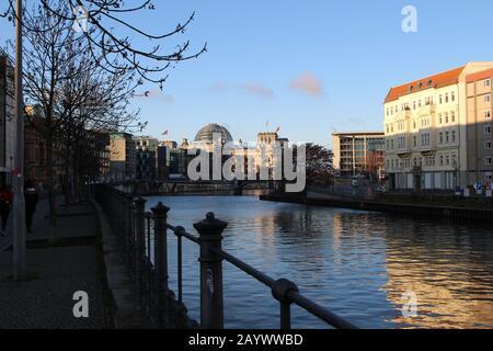 Spree river in central Berlin - Stock Photo