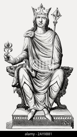 Philip II, 1165 – 1223, known as Philip Augustus, King of France from 1180 to 1223 - Stock Photo