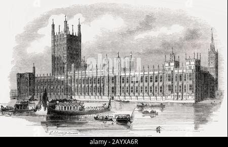 Palace of Westminster, Houses of Parliament, London, United Kingdom, 19th Century, - Stock Photo