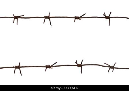 Old rusty metal barbed wire of times of the second world war isolated on white background - Stock Photo