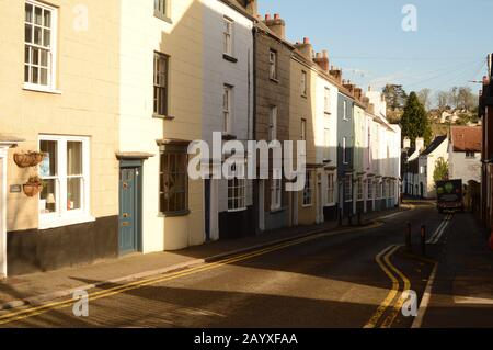 A view of Houses along Bridge Street in Chepstow, South Wales, UK, close to Chepstow Castle and Museum - Stock Photo