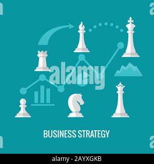 Business strategy with chess flat vector concept. Chess strategy for business, illustration infographic and plan strategy - Stock Photo