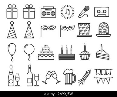 Party birthday holidays icons thin line vector outline icons set. Happy party with champagne and music, illustration carnival and party with drink and cake - Stock Photo
