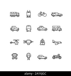 Transport line icons vector set. Transport illustration bus and car for travel, lorry airplane and bicycle transport collection illustration - Stock Photo