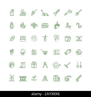 Sprouting seeds and home gardening thin outline vector icons. Plant and gardening, tool rake or spade for gardening illustration - Stock Photo