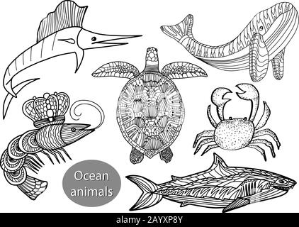 Set with ocean animals in doodle style isolated on white background. Vector outline illustration.Marlin fish,turtle, shrimp,shark,whale,crab. - Stock Photo