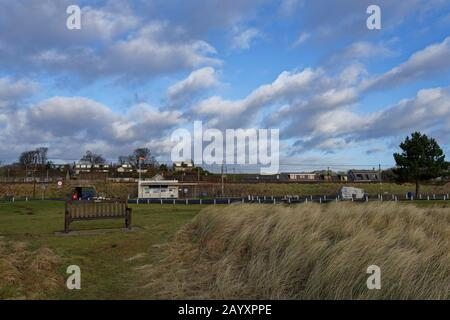 Easthaven Public Toilets and Car Park along with facilities such as benches and picnic areas on a windy winters day in February. - Stock Photo