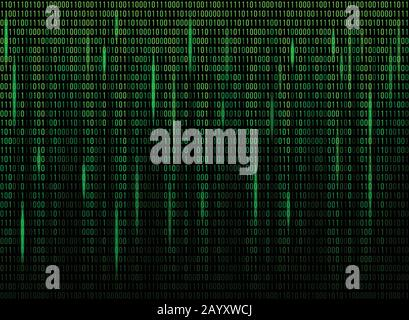 Computer screen binary data code. Numerical continuous code in green color, abstract web data in binary code. Vector illustration