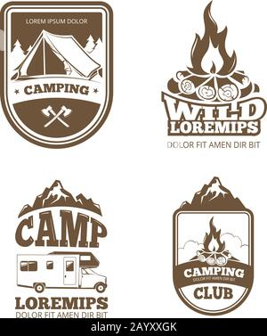Wilderness and nature exploration vintage vector labels, emblems, logos, badges. Vintage badge camping club and illustration emblem for camping - Stock Photo