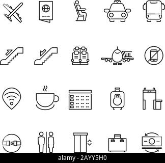 Airport thin line vector icons. Signs for airport wifi and coffee. Service airport for passenger illustration - Stock Photo