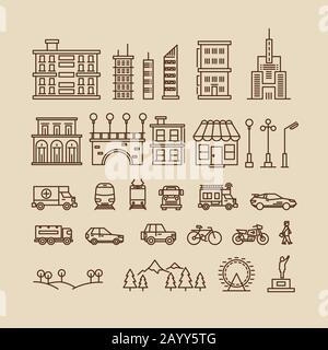 Line elements of city. Buildings and houses, trees and transport icons for city map or cityscape. Vector illustration - Stock Photo