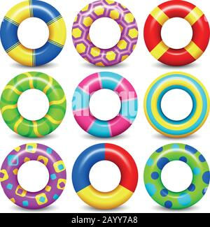 Colorful rubber swim rings vector set for water floating. Swimming circle lifesaver collection for child safe - Stock Photo