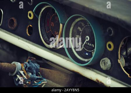 Old car Dashboard, Ruined and scrapped car, from a Scrap yard in Norfolk - Stock Photo