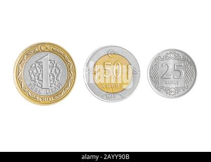 Turkish Lira coins collection set isolated on white background. - Stock Photo