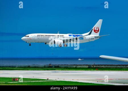 Japan Transocean Air, JTA, Boeing, B-737/800, JA07RK, Amuro Jet, Landing, Naha Airport,  Naha, Okinawa Island, Ryukyu Islands, Japan