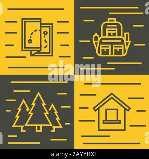 Road tourist line icons on yellow and brown background. Travel tourism and hiking, vector illustration - Stock Photo