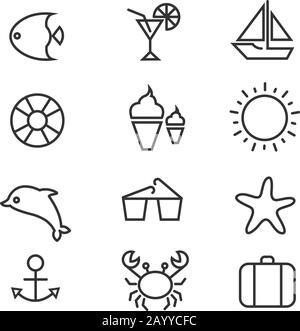 Summer holiday, tropical beach thin line vector icons. Summer cocktail and set of summer icons, dolphin crab and sun illustration - Stock Photo