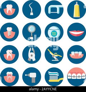 Dental clinic services flat vector icons. Health care dental and medicine tools for medical dental service illustration - Stock Photo