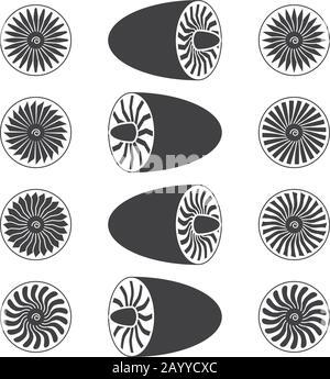 Aircraft jet engine turbines, blades of turbines, vector icons illustration - Stock Photo