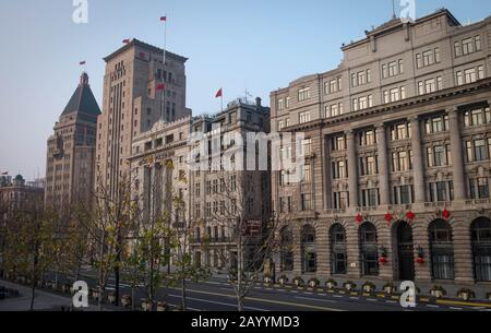 SHANGHAI, CHINA - JANUARY 10 2020: Shanghai street building, Shanghai city a lot of the building art, And this city is one of the destination for trav - Stock Photo