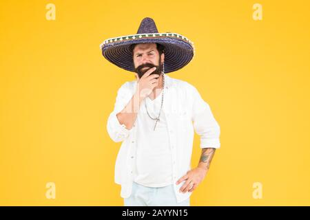 Cinco de Mayo. Mexican Day of the Dead. 5th of May. Let have fun. celebrating fiesta. happy man in mexican sombrero hat. Mexican energetic temper. traditional mexican holiday. national Mexico holiday. - Stock Photo