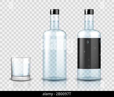 Transparent vodka bottle mockup. Realistic vodka glass isolated. Vector illustration. - Stock Photo
