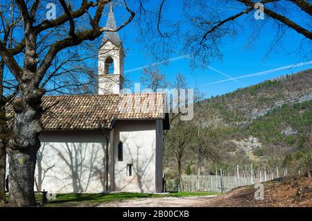 Church of San Martino in Non valley Europe, Italy, Trentino Alto Adige, Non valley , Italy - Stock Photo