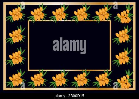Gold frame buckthorn tea, wine or alcohol label package. Fruit tag for food products, juice, jam, ice cream, smoothies, yogurt,soap, cosmetics. Vector - Stock Photo