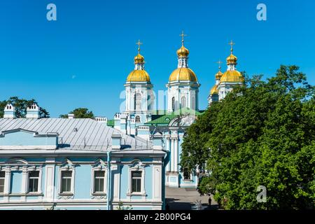 St. Nicholas Naval Cathedral, a major Baroque Orthodox cathedral in the western part of Central Saint Petersburg - Stock Photo